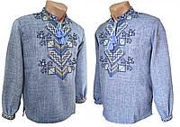 Модная мужская вышитая рубашка с габардина с длинным рукавом, фото 1