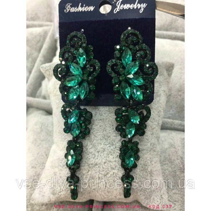 Вечірні чорні сережки з зеленими каменями, висота 7,5 див.