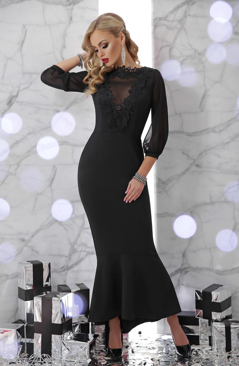 55c7e0acea7 Длинное черное платье с гипюром - Интернет-магазин