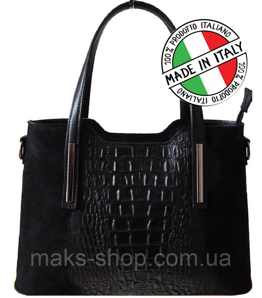 3b8de9c16db4 Итальянская женская сумка натуральная кожа+натуральная замша под крокодила  Bottega Carele BC1032