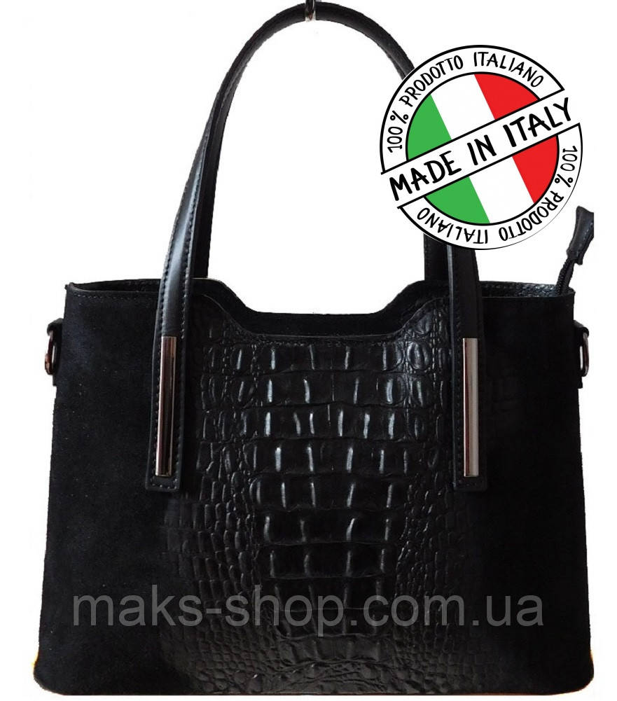a66ba5fd8fbd Итальянская женская сумка натуральная кожа+натуральная замша под крокодила Bottega  Carele BC1032 - Maks Shop