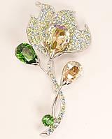 "Брошь ХР Родий с кристаллами Swarovski ""Фантастический Цветок"" можно носить как кулон"