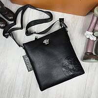 Модная женская сумка-планшет Versace черная планшетка через плечо кожзам Версаче люкс реплика