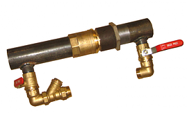 Байпас для опалення 50 довгий з латунним клапаном