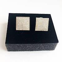 Серьги из серебра с камнями Swarovski  квадратной формы белые