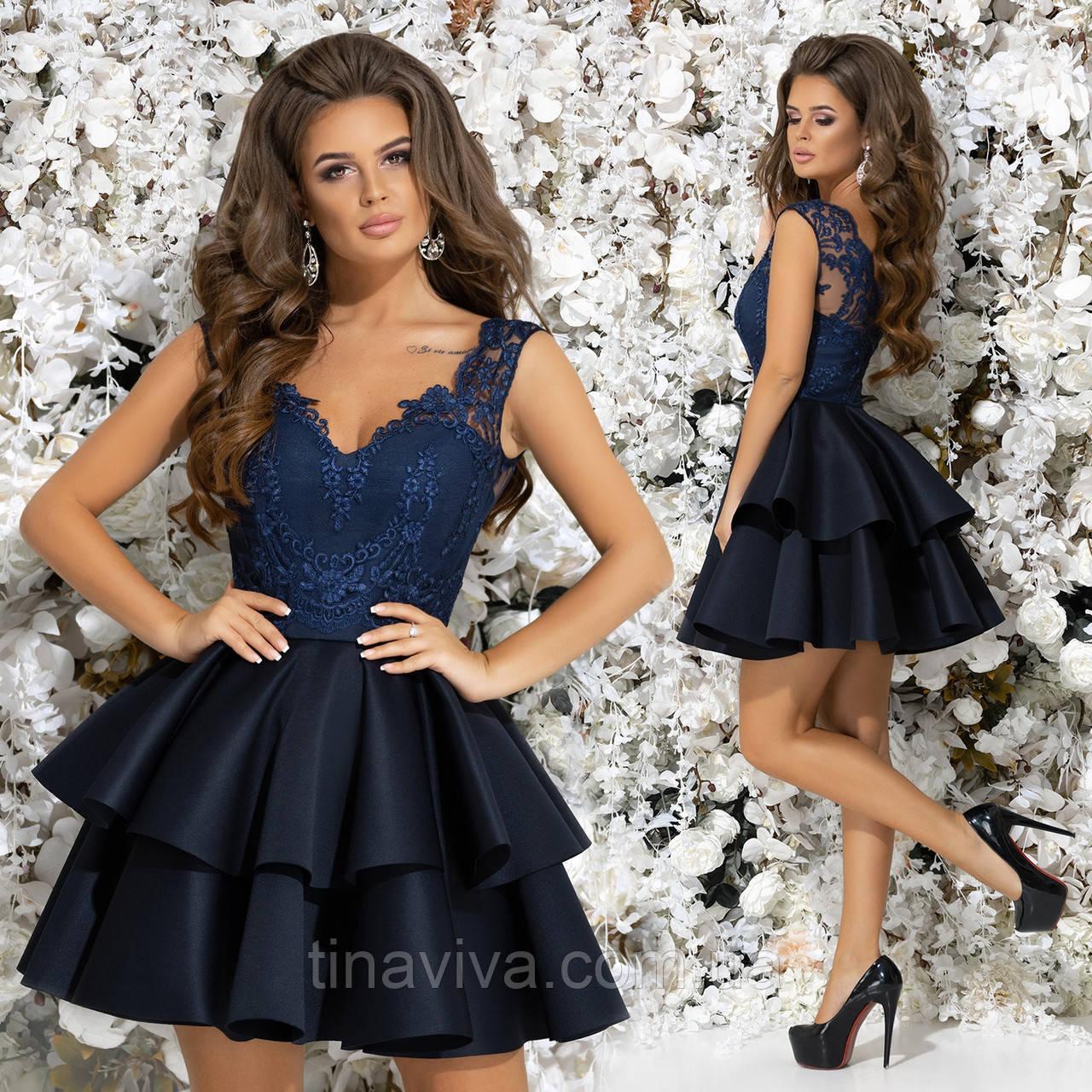 """Женское нарядное  платье с кружевом и пышной юбкой """"Тиша"""" (жіноче плаття )  5 цветов"""