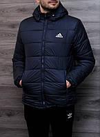 Зимняя мужская курточка, чоловіча куртка-бомбер Adidas (синий), Реплика