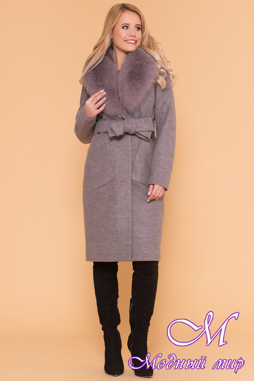 Удлиненное женское зимнее пальто с мехом (р. S, М, L) арт. Габриэлла 4232 - 40822