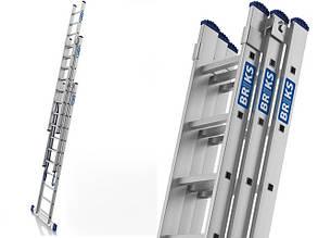 Лестница алюминий 3х10 BRIKS 660 см