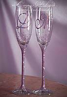Свадебные бокалы с инициалами в стразах розово-фиолетовый или золотистый хамелеон (Классик), фото 1