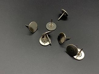Кнопка с гвоздиком. Качество. Серебро. Плоская шапочка. 16х18мм