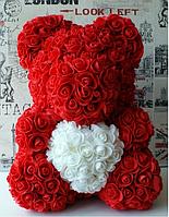 Мишка из роз Красный с белым сердцем 40СМ + подарочная упаковка