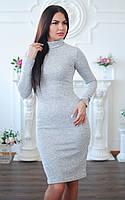 Теплое серое платье гольф из мягенькой ангоры больших размеров