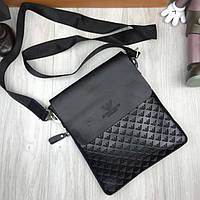 5533e0f6b07e Брендовая мужская сумка-планшет Giorgio Armani черная через плечо эко-кожа унисекс  Армани люкс