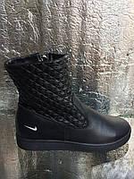 Спортивные зима кожаные на невысокой танкетке кожа натуральная на широкую ногу 36-41 Черный белый цвет