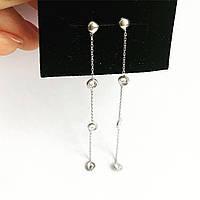 Серьги подвески Мої прикраси из серебра с куб. цирконием белые