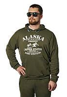Мужской спортивный костюм из трикотажа демисезонный , хаки,  р-р 48-54