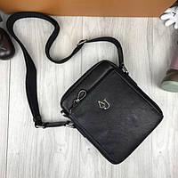 Кожаная мужская сумка-планшет Armani Jeans черная планшетка через плечо кожа унисекс Армани Джинс реплика