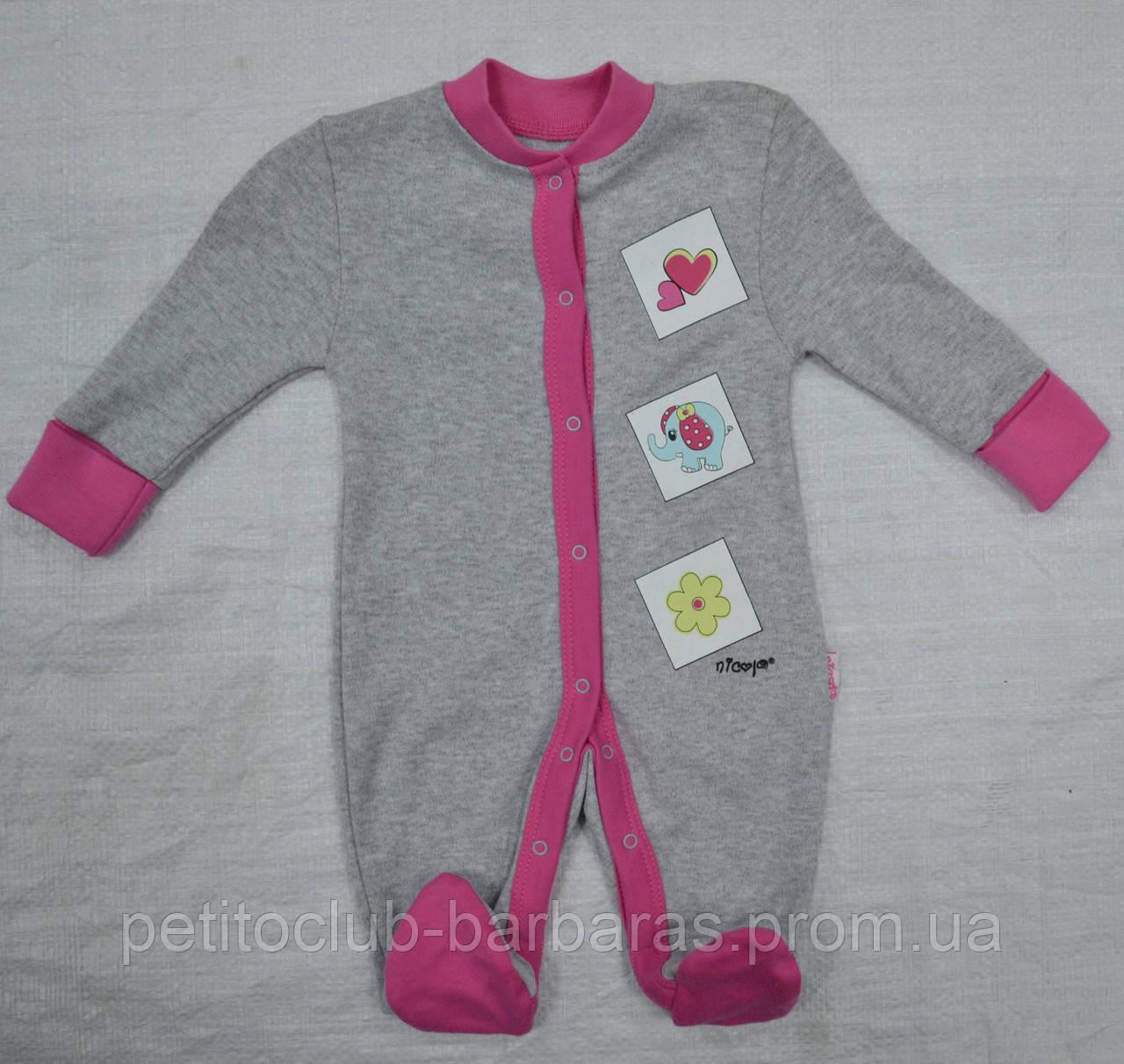 Комбинезон хлопковый для девочки Слоник (Nicol, Польша)