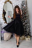 Женское пышное платье ниже колен юбка из фатина и гипюровый верх 42, 44, 46, 48