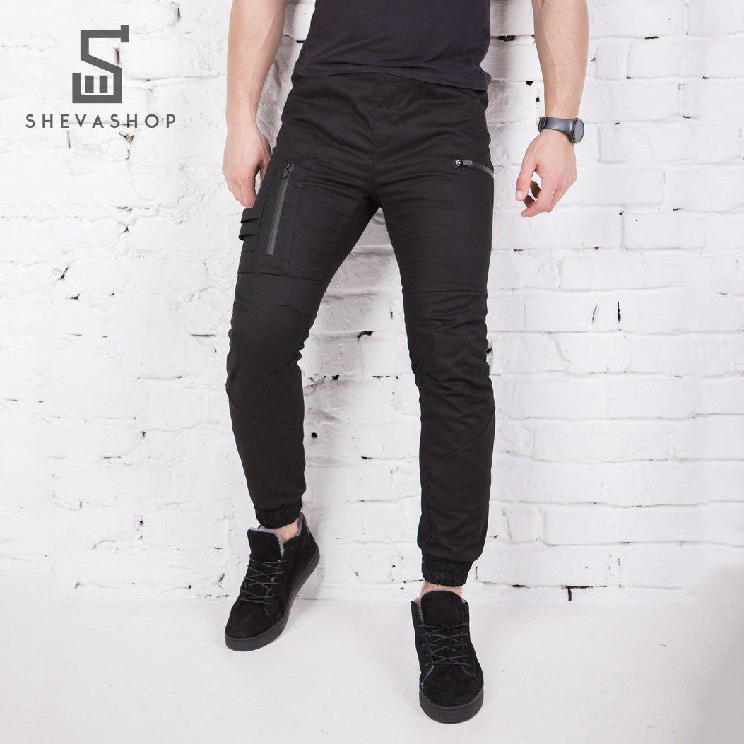 Теплые брюки карго мужские Pobedov Papin Brodyaga черные, фото 1