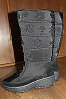 Женские зимние сапоги дутики с вышивкой снежинки Paolla