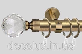 Карниз одинарний металевий діаметр 35 мм, Куля Кристал