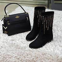 Ботинки женские весна осень без каблука черные