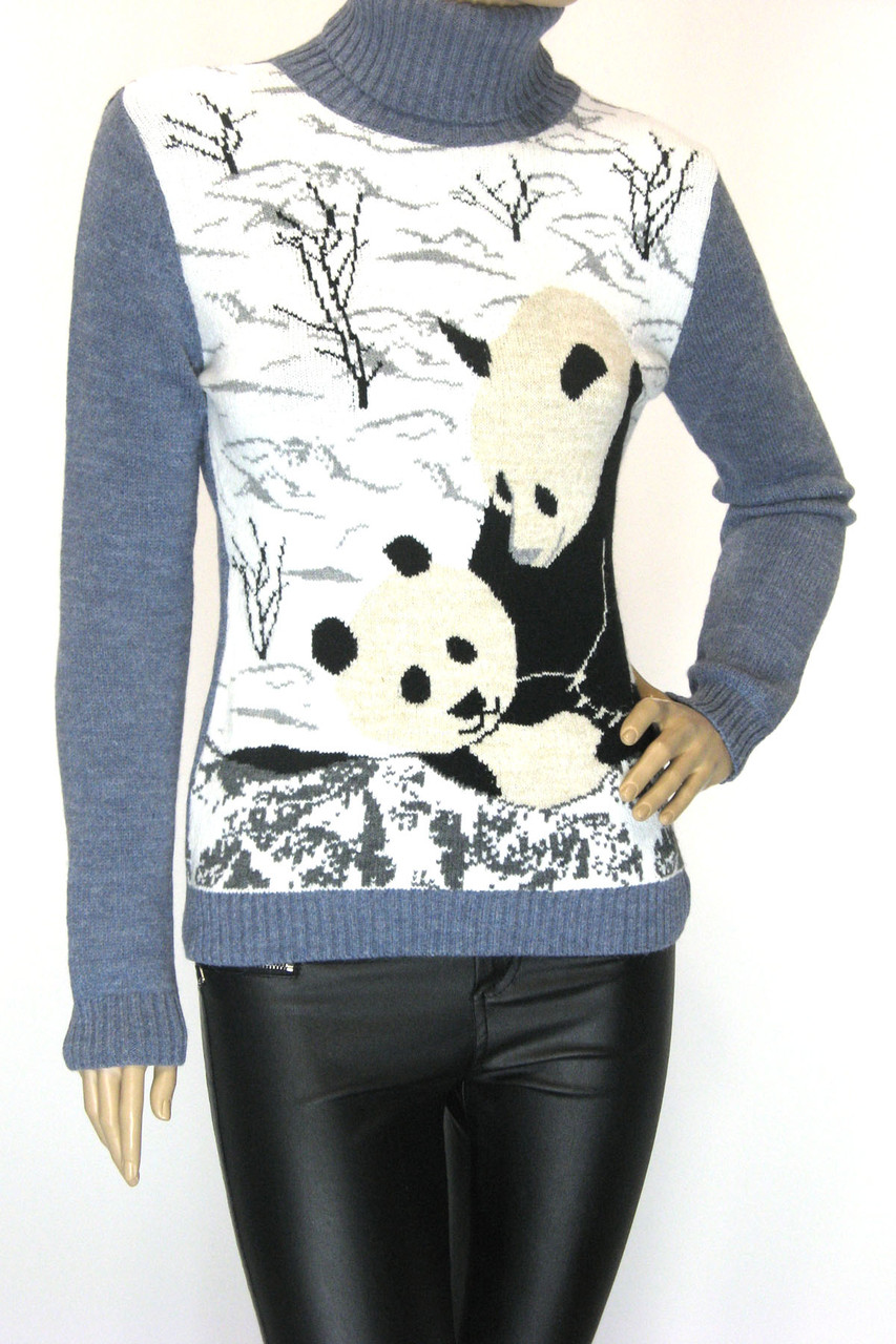 В'язаний жіночий  гольф з пандами