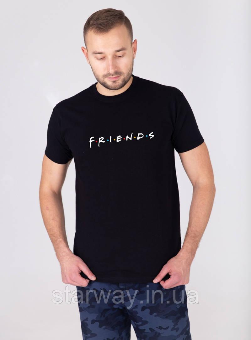 Футболка черная   принт Friends
