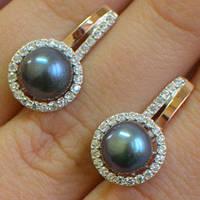 Серебряные серьги с золотыми накладками с натуральным черным жемчугом и фианитами 401