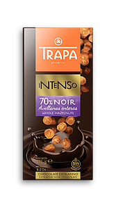 TRAPA шоколад, INTENSO, 175г, чорний 70%, з фундуком, 17шт/ящ 023206