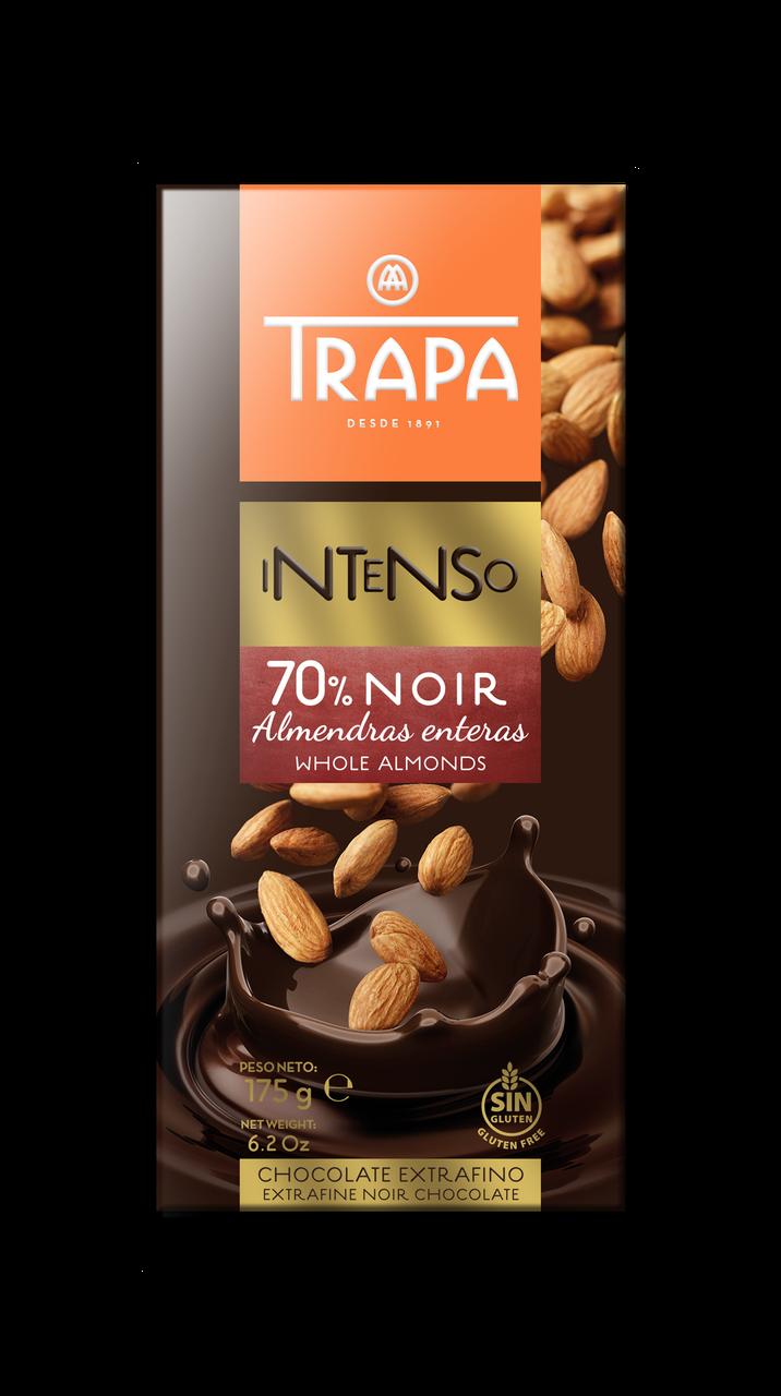 TRAPA шоколад, INTENSO, 175г, чорний 70%, з мигдалем, 17шт/ящ 023205