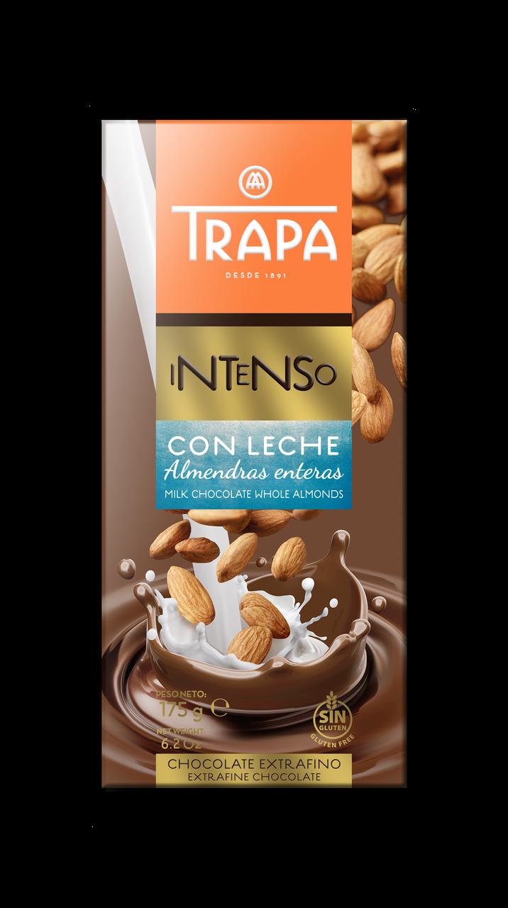 Шоколад 175г TRAPA INTENSO молочний з цільним мигдалем, 17шт/ящ 023202