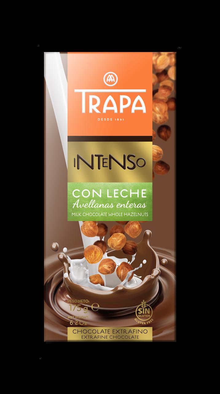 Шоколад 175г TRAPA INTENSO молочний з цільним фундуком, 17шт/ящ 023203