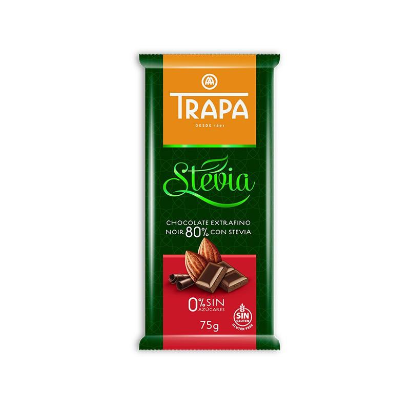 Шоколад 75г TRAPA STEVIA чорний 80%, 20 шт/ящ 023723_М