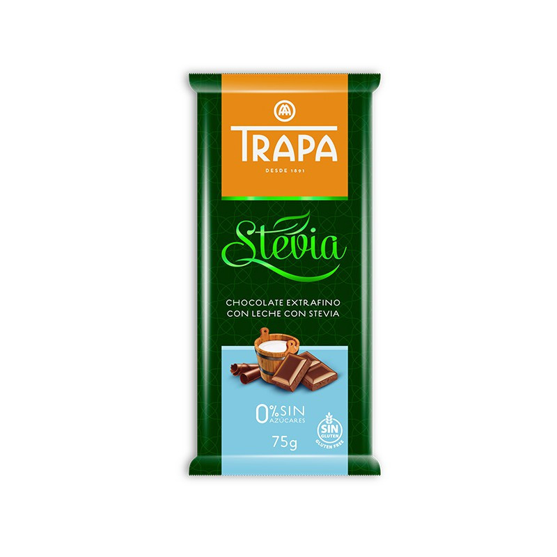Шоколад TRAPA STEVIA молочний 75г 20шт/ящ 023721
