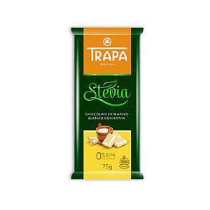 TRAPA шоколад, STEVIA, 75г, білий, 20шт/ящ 023724_М