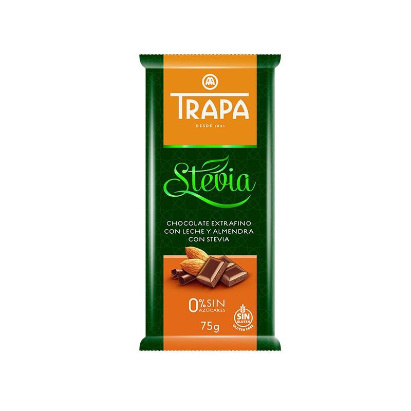 Шоколад 75г TRAPA STEVIA молочний з мигдалем, 20шт/ящ 023726