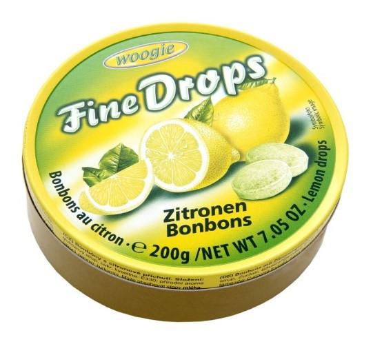 Льодяники Woogie, FINE DROPS, з лимонним смаком, 200г, 10шт/ящ