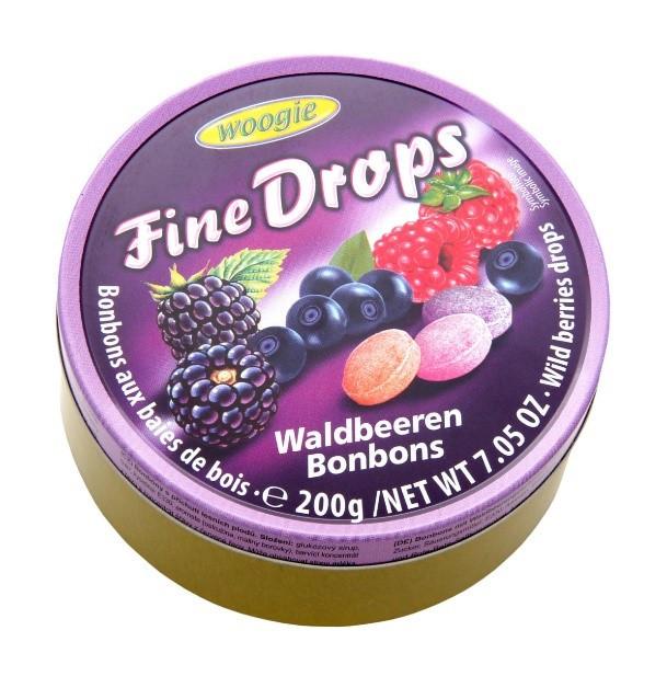 Льодяники Woogie, FINE DROPS, лісові ягоди, 200г, 10шт/ящ