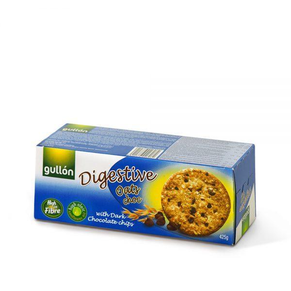 Печиво GULLON Digestive вівсяне з шоколадними крихтами, 425г, 15шт/ящ