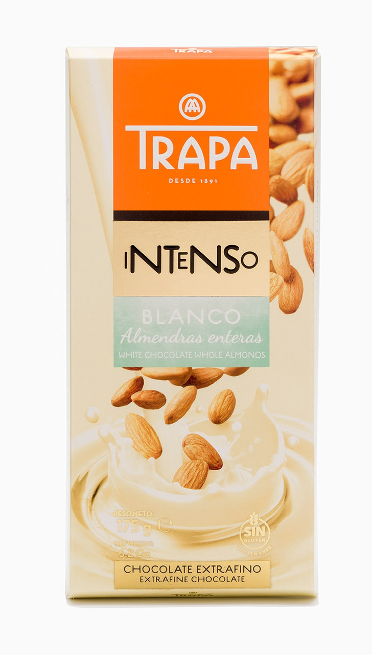 Шоколад 175г TRAPA INTENSO білий з цільним мигдалем, 17шт/ящ 023208_М