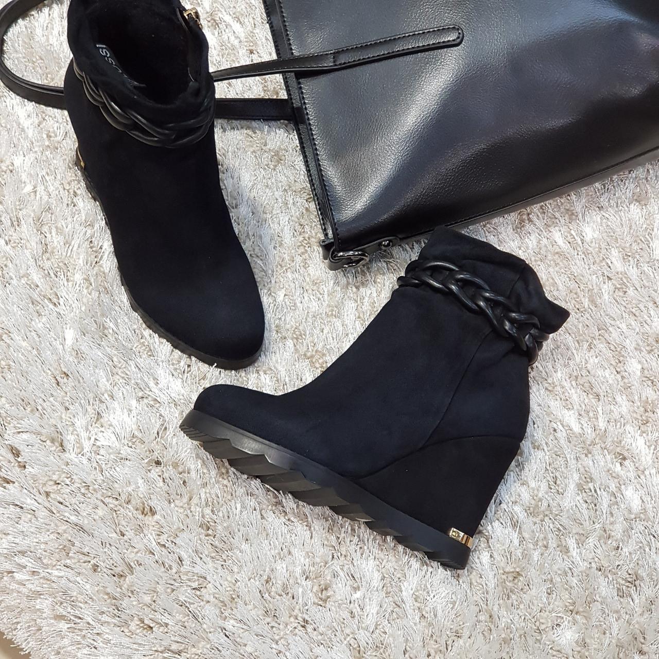 Ботинки женские демисезонные весна-осень из натуральной замши на танкетке черные