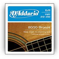Струны для акустической гитары D*ADDARIO EJ-11 Bronze 80/20 Light