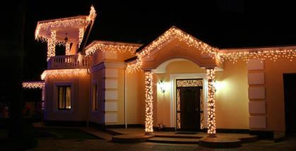 Новогодняя гирлянда Бахрома 200 LED, Белый теплый свет + Пульт 9 м, фото 3