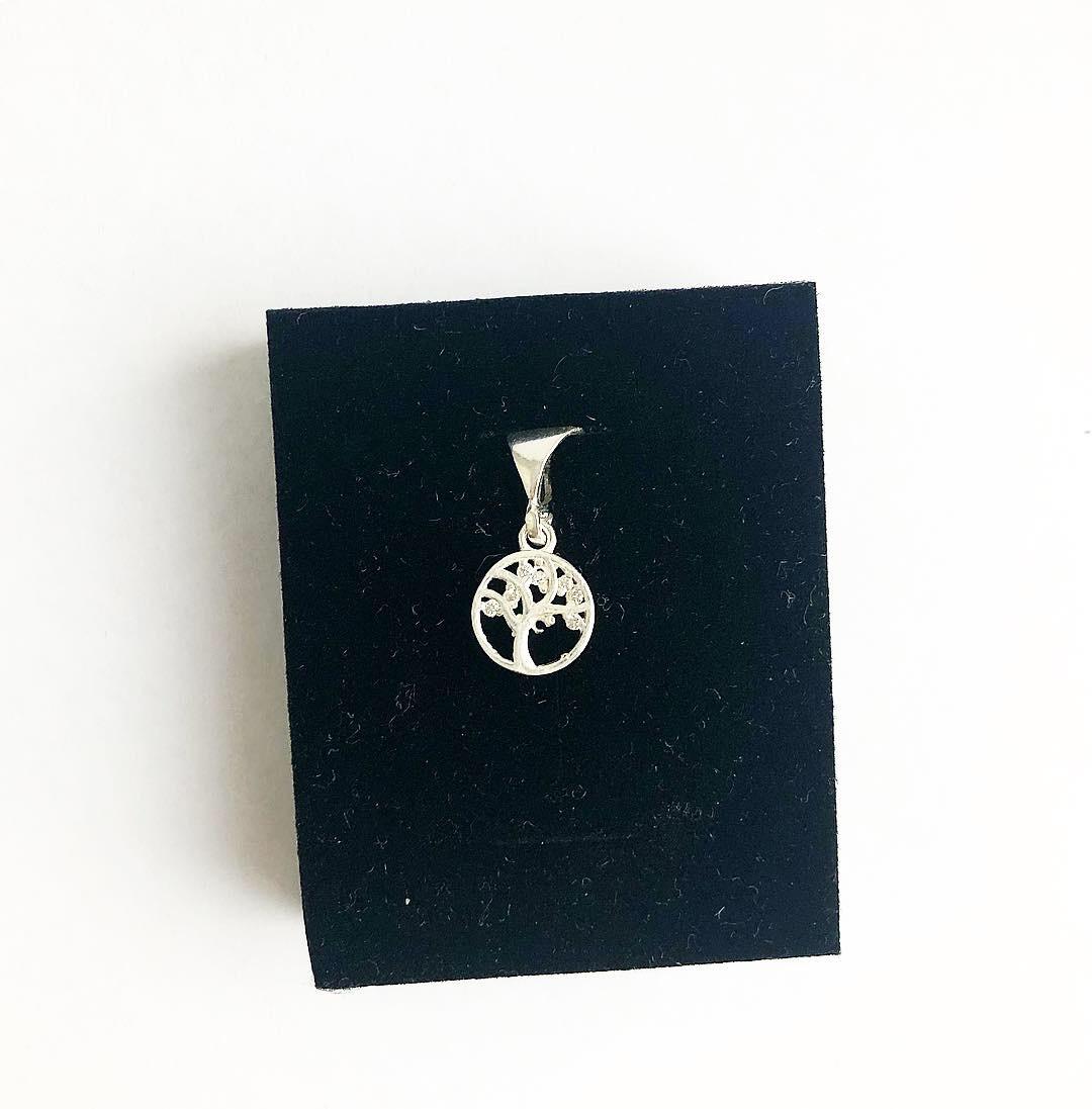 Подвеска из серебра Мої прикраси в стиле минимализм с куб. цирконом дерево маленькое