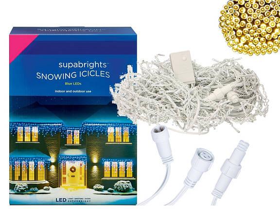 Новогодняя гирлянда Бахрома 300 LED, Белый теплый свет 11 м, фото 2