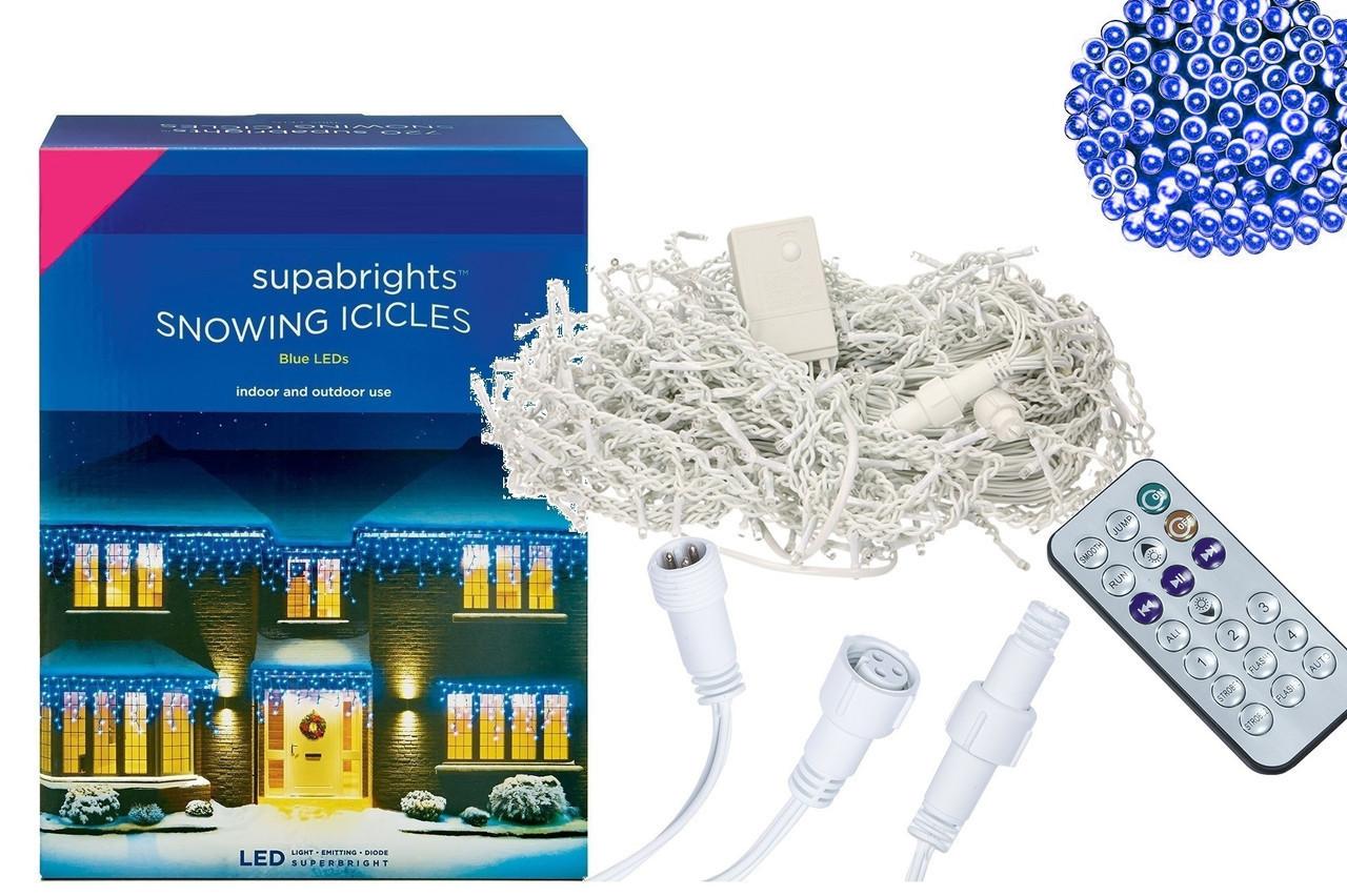 Новогодняя гирлянда Бахрома 300 LED, Голубой свет 12 м + Пульт
