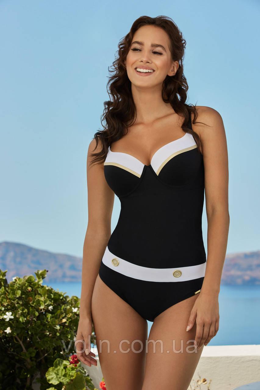Слитный польский купальник Madora Brigitte чёрный.
